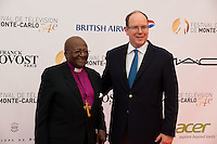 Prince Albert II of Monaco & Desmond Tutu during the 54th Monte-Carlo TV Festival - Monaco