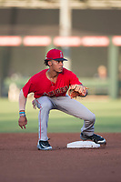 AZL Angels shortstop Jeremiah Jackson (8) prepares to catch a throw from the catcher on a stolen base attempt during an Arizona League game against the AZL Padres 2 at Tempe Diablo Stadium on July 18, 2018 in Tempe, Arizona. The AZL Padres 2 defeated the AZL Angels 8-1. (Zachary Lucy/Four Seam Images)