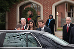 December 11, 2010. Raleigh, NC.. John Edwards, center and his daughter Cate, at his left, leave the funeral of Edwards' wife, Elizabeth.. A funeral was held at the Edenton Street United Methodist Church to honor the life of Elizabeth Edwards, the estranged wife of former Democratic presidential candidate John Edwards, who died after an 6 year battle with breast cancer..