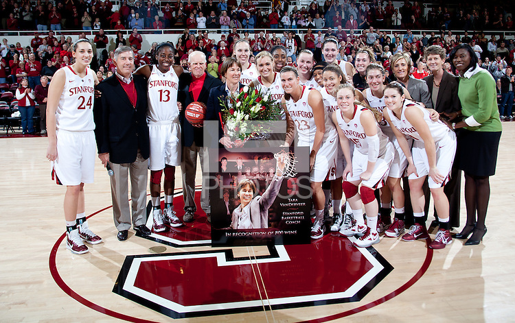 STANFORD, CA - January 8, 2011: The Stanford Cardinal women's basketball team during Coach Tara VanDerveer's 800th career win celebration after Stanford's game against Arizona State at Maples Pavilion. Stanford won 82-35.