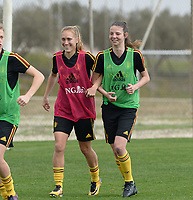20180306 - LARNACA , CYPRUS :  Belgian Janice Cayman and Nicky Van Den Abbeele (r) pictured during a Matchday -1 training from The Belgian Red Flames prior to their game against South Africa , on tuesday 6 March 2018 at the Alpha Sports Grounds in Larnaca , Cyprus . This will be the final game for Belgium during the Cyprus Womens Cup for a battle for the 5th place , a prestigious women soccer tournament as a preparation on the World Cup 2019 qualification duels. PHOTO SPORTPIX.BE | DAVID CATRY