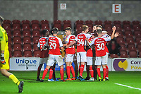 Fleetwood Town celewbrate with scorer Fleetwood Town's defender Peter Clarke (4) during the The Leasing.com Trophy match between Fleetwood Town and Liverpool U21 at Highbury Stadium, Fleetwood, England on 25 September 2019. Photo by Stephen Buckley / PRiME Media Images.