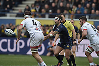 11th January 2020, Parc des Sports Marcel Michelin, Clermont-Ferrand, Auvergne-Rhône-Alpes, France; European Champions Cup Rugby Union, ASM Clermont versus Ulster;  Morgan Parra (asm) passes across the contact from Paul Jedrasiak of Ulster