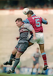 Brian McClair of Manchester Utd challenges Paul McGrath of Aston Villa - Barclays Premier League - Aston Villa v Manchester Utd - Villa Park Stadium - Birmingham - England - 19th August 1995 - Picture Sportimage