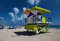 Colorful Green Painted Wood Lifeguard Tower, White Sand Tropical Beaches, South Beach, Miami, Florida, FL, America, USA.