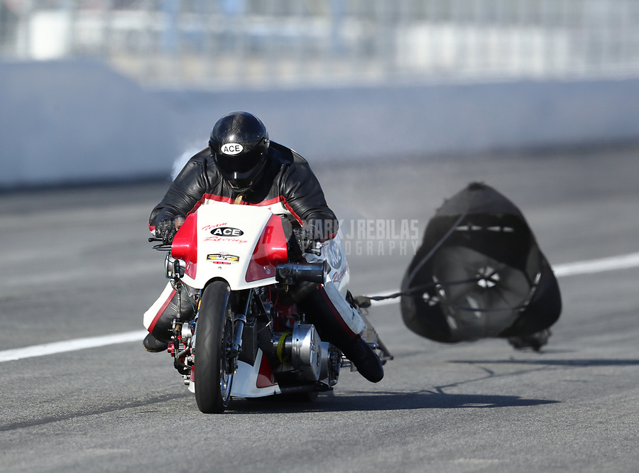 Feb 9, 2019; Pomona, CA, USA; NHRA top fuel Harley Davidson nitro motorcycle rider Kevin Boyer during the Winternationals at Auto Club Raceway at Pomona. Mandatory Credit: Mark J. Rebilas-USA TODAY Sports