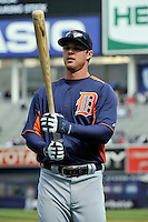 Apr 02, 2011; Bronx, NY, USA; Detroit Tigers outfielder Brennan Boesch (26) during game against the New York Yankees at Yankee Stadium. Yankees defeated the Tigers 10-6. Mandatory Credit: Tomasso De Rosa