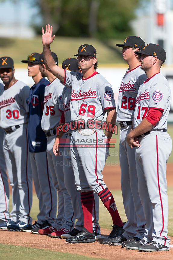 Salt River Rafters pitcher Taylor Guilbeau (69), of the Washington Nationals organization, during player introductions before the Arizona Fall League Championship game against the Peoria Javelinas at Scottsdale Stadium on November 17, 2018 in Scottsdale, Arizona. Peoria defeated Salt River 3-2 in extra innings. (Zachary Lucy/Four Seam Images)