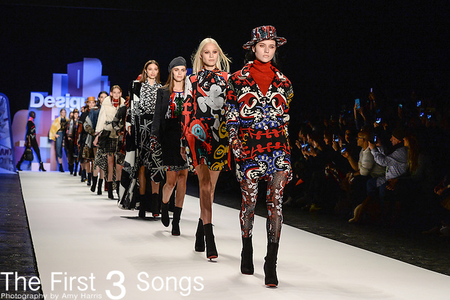 Models are seen during the Desigual fashion show at the Mercedes-Benz Fashion Week Fall 2016 in New York City.