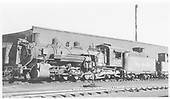 K-37 #492 next to Chama roundhouse.<br /> D&amp;RGW  Chama, NM  6/18/1950