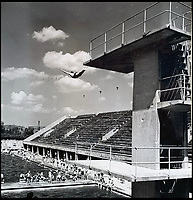 BNPS.co.uk (01202 558833)<br /> Pic:  ChiswickAuctions/BNPS<br /> <br /> Allies dive from the board at the swimming stadium at the Berlin Olympic stadium complex.<br /> <br /> Remarkable previously unseen photos documenting the momentous closing stages of World War Two and its historic aftermath have come to light.<br /> <br /> They were taken by Sergeant Charles Hewitt, of the Army Film and Photographic Unit, who later went on to work for the Picture Post and the BBC.<br /> <br /> He was present at many of the important offensives of 1944 and '45 including the Battle of Monte Cassino during the Italian Campaign and the Allies advance into Germany following the D-Day invasion.