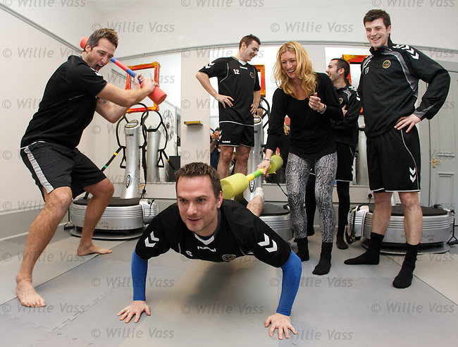 Gladiator Ali Paton at The Gallery fitness Studio in Glasgow with Berwick Rangers players Ian McAlden, Stuart Callaghan, Paul McMullan and Craig O'Reilly getting whipped into shape to tackle Celtic on Sunday