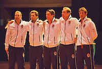 13-sept.-2013,Netherlands, Groningen,  Martini Plaza, Tennis, DavisCup Netherlands-Austria, ,  Presentation of the teams: Ned team Ltr: , Captain Jan Siemerink, Jean-Julien RojerJesse Huta Galung, Robin Haase and Thiemo de Bakker  <br /> Photo: Henk Koster