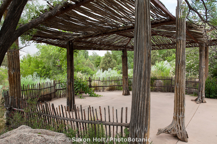 Patio shade structure, ramada, pergola made with natural dried cactus stalks