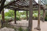 Patio shade structure, ramada, pergola made with natural dried cactus stalks