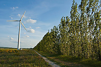 Turbine in a countryside field, Donzere, Drome, France.