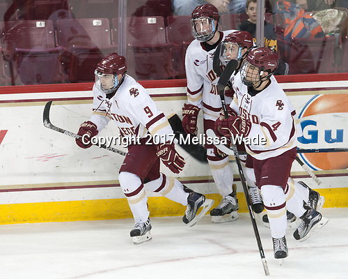 Austin Cangelosi (BC - 9), Connor Moore (BC - 7), Ryan Fitzgerald (BC - 19), Michael Kim (BC - 4) - The visiting Merrimack College Warriors defeated the Boston College Eagles 6 - 3 (EN) on Friday, February 10, 2017, at Kelley Rink in Conte Forum in Chestnut Hill, Massachusetts.