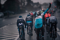 Gediminas Bagdonas (LTU/AG2R) requiering some asistance from the team car in the back of the peloton<br /> <br /> 73rd Dwars Door Vlaanderen 2018 (1.UWT)<br /> Roeselare - Waregem (BEL): 180km