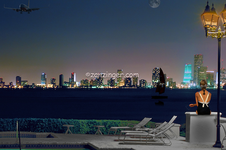 Fisher Island, Miami, Florida, Miami Skyline, Night, Tall Buildings, computer, Composite, CGI