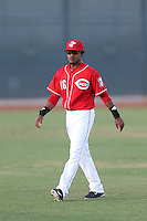 Dario Saunders (46) of the AZL Reds before a game against the AZL Brewers at Cincinnati Reds Spring Training Complex on July 5, 2015 in Goodyear, Arizona. Reds defeated the Brewers, 9-4. (Larry Goren/Four Seam Images)