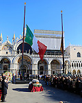 State funerals with Italy's Republic President Sergio Matarella for the unique Italian victim of Paris attack, Valeria Solesin at San Marco square in Venice, on November 24, 2015. On November 13, Islamic State jihadists claimed a series of coordinated attacks by gunmen and suicide bombers in Paris that killed at least 132 people in scenes of carnage at a concert hall, restaurants and the national stadium. Pierre TEYSSOT