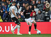 Bolton Wanderers' Luca Connell competing with Derby County's Bradley Johnson <br /> <br /> Photographer Andrew Kearns/CameraSport<br /> <br /> The EFL Sky Bet Championship - Derby County v Bolton Wanderers - Saturday 13th April 2019 - Pride Park - Derby<br /> <br /> World Copyright &copy; 2019 CameraSport. All rights reserved. 43 Linden Ave. Countesthorpe. Leicester. England. LE8 5PG - Tel: +44 (0) 116 277 4147 - admin@camerasport.com - www.camerasport.com