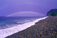 Haida Gwaii (Queen Charlotte Islands), Northern BC, British Columbia, Canada - Double Rainbow at Agate Beach and Tow Hill along McIntyre Bay,  Naikoon Provincial Park, Graham Island