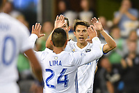 San Jose, CA - Wednesday September 19, 2018: Nick Lima, Shea Salinas during a Major League Soccer (MLS) match between the San Jose Earthquakes and Atlanta United FC at Avaya Stadium.