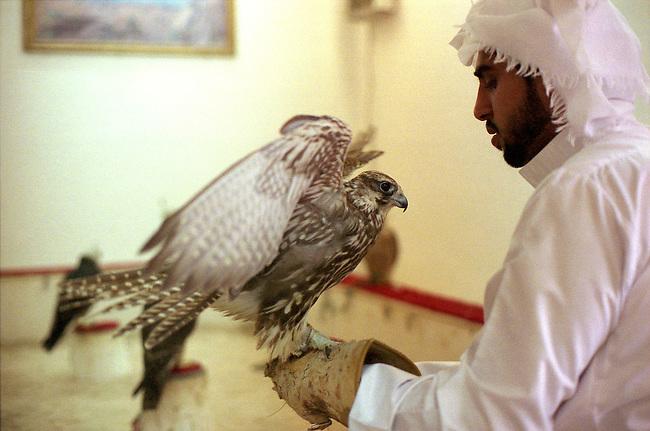 Qatar, ville de Doha. Un fauconnier avec ses animaux dans le souk aux faucons. *** State of Qatar, City of Doha, falconry, hunting hawk, thursday friday Market (falcon souq), portrait.