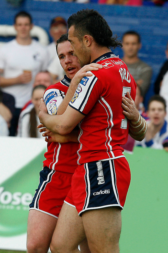 Photo: Paul Greenwood..Wakefield Trinity Wildcats v Hull KR. Engage Super League 2007. 03/06/2007..Hull KR's Byron Ford (R) is congratuleted by team mate Ben Fisher