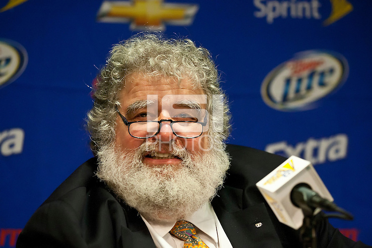 PASADENA, CA – June 25, 2011: Chuck Blazer during press conference before the Gold Cup Final match between USA and Mexico at the Rose Bowl in Pasadena, California. Final score USA 2 and Mexico 4.