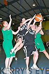 St Paul's Cassandra Buckley left and Muiriosa Galwey battle for possesion with Blue Flu's Catherine Canty left and Catriona O'Connell  Blue during their clash in the Senior Ladies Final at the St Mary's Basketball Flitz final in Castleisland on Friday night