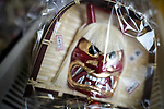 OGA, JAPAN - FEBRUARY 10: In this photo shows a demon mask souvenir for sale during the Namahage Sedo Festival at Shinzan Shrine on February 10, 2019 in Oga, Akita prefecture, Japan. Namahage visit each house to admonish sluggards to mend their ways, ward off disasters and offer blessings, looking for evil children, in the area on New Year's Eve. In the festival, which combines the local event of the ceremony of the shrine, visitors can experience these traditions and its folk culture. (Photo by Richard Atrero de Guzman/Aflo)