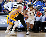 SIOUX FALLS, SD: MARCH 6: Danielle Lawrence #14 from IUPUI drives against Madison Guebert #11 from South Dakota State during the Summit League Basketball Championship on March 6, 2017 at the Denny Sanford Premier Center in Sioux Falls, SD. (Photo by Dave Eggen/Inertia)