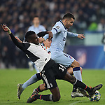 Angel Correa of Atletico Madrid is challenged by Blaise Matuidi and Paulo Dybala of Juventus during the UEFA Champions League match at Juventus Stadium, Turin. Picture date: 26th November 2019. Picture credit should read: Jonathan Moscrop/Sportimage