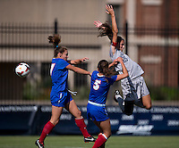 Kailey Blain (25) of Georgetown goes up for a header with Rebekah Roller (17) and Gini Yost (5) of DePaul during the game at Shaw Field on the campus of Georgetown University in Washington, DC.  Georgetown tied DePaul, 1-1, in double overtime.