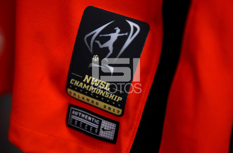 Orlando, FL - Saturday October 14, 2017: National Women's Soccer League Championship patch Portland Thorns FC locker room during the NWSL Championship match between the North Carolina Courage and the Portland Thorns FC at Orlando City Stadium.
