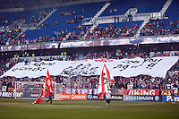 New York Red Bulls tifo. The New York Red Bulls defeated the Philadelphia Union 2-1 during a Major League Soccer (MLS) match at Red Bull Arena in Harrison, NJ, on March 30, 2013.
