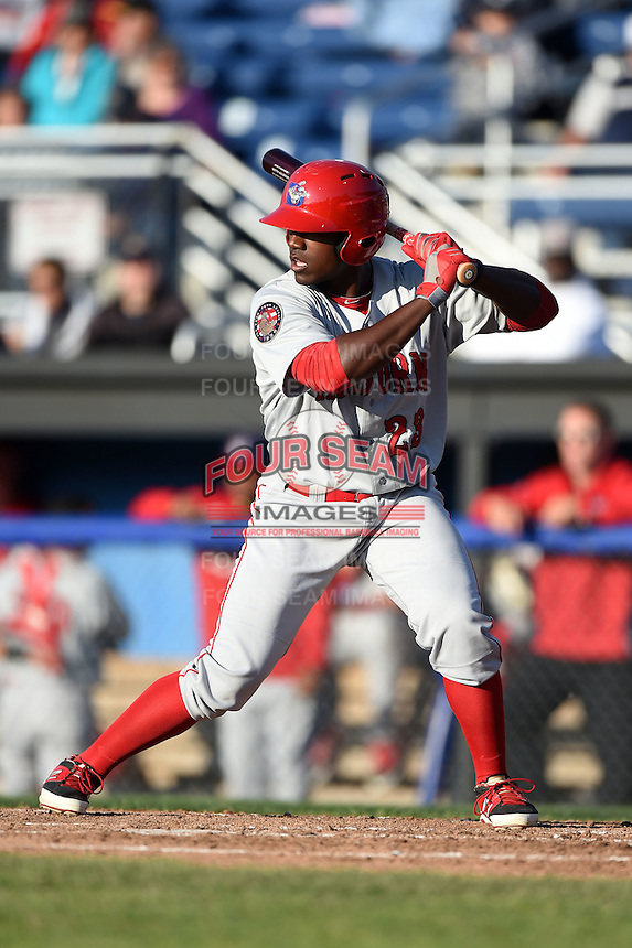 Auburn Doubledays outfielder Brenton Allen (23) at bat during a game against the Batavia Muckdogs on June 14, 2014 at Dwyer Stadium in Batavia, New York.  Batavia defeated Auburn 7-2.  (Mike Janes/Four Seam Images)