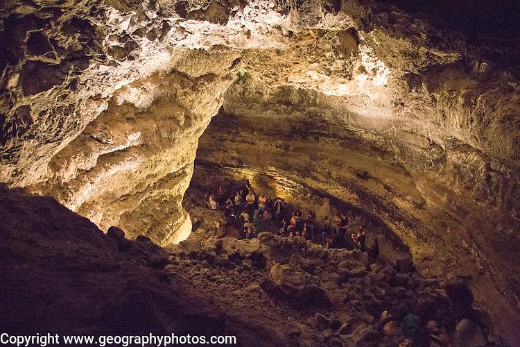 Cueva de Los Verdes, cave tourist attraction in lava pipe tunnel, Lanzarote, Canary Islands, Spain