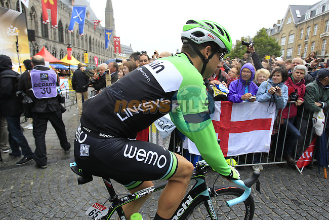 Thomas Leezer (NED) Belkin at sign on in Ypres before the start of the cobbled stage Stage 5 of the 2014 Tour de France running 155.5km from Ypres to Arenberg. 9th July 2014.<br /> Picture: Eoin Clarke www.newsfile.ie
