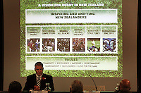 NZRU CEO Steve Tew presents the 2009 New Zealand Rugby Union AGM at NZRU Head Office, Wellington, New Zealand on Thursday, 23 April 2009. Photo: Dave Lintott / lintottphoto.co.nz