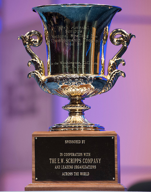 The Scripps National Spelling Bee championship trophy sits on a pedestal on stage as the finals of the Spelling Bee begin at the Gaylord National Resort and Convention Center in Oxon Hill, Md., on Thursday, May 31, 2012. Photo by Bill Clark