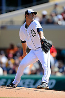 Detroit Tigers pitcher Rick Porcello #21 during a Spring Training game against the Atlanta Braves at Joker Marchant Stadium on February 27, 2013 in Lakeland, Florida.  Atlanta defeated Detroit 5-3.  (Mike Janes/Four Seam Images)