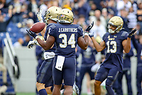 Annapolis, MD - October 26, 2019: Navy Midshipmen fullback Jamale Carothers (34) celebrates after scoring a touchdown during the game between Tulane and Navy at  Navy-Marine Corps Memorial Stadium in Annapolis, MD.   (Photo by Elliott Brown/Media Images International)
