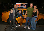 Jeff Marx and Family taking the 'Avenue Q' - 15th Anniversary Performance Taxi Cab at New World Stages on July 31, 2018 in New York City.