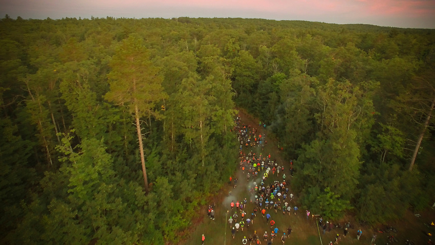 Aerial view of the lemans start of the Marji Gesick 100 in Marquette County, Michigan.