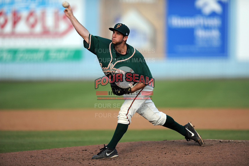 Greensboro Grasshoppers pitcher Ronald Barnes #32 delivers a pitch during game one of a double header against the Asheville Tourists on July 2, 2013 in Asheville, North Carolina.  The Tourists won the game 5-3. (Tony Farlow/Four Seam Images)