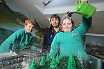 Welsh Water.Adam Gealy & Ashleigh Davies from Bynea Primary School in Llanelli with Welsh Water teacher Mary Watkins learning about surface Water flooding...01.02.12.©Steve Pope