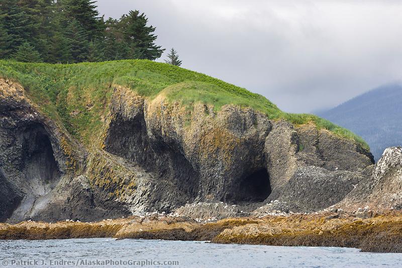 Coastal shore St. Lazarius Island, Sitka,  Alaska.